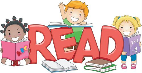 Clip art of children with books around the word read
